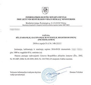 Police clearance certificate of Lithuania