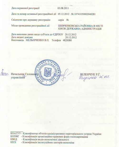 The reverse side of the Certificate of registration of the Company Jur Klee (Юр Кли)